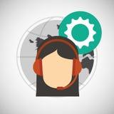 Call center design. Global communication. Flat illustration, Royalty Free Stock Photo