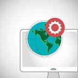 Call center design. Global communication. Flat illustration, Stock Photos