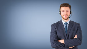 Call Center Employee on Blue Background Stock Images