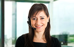 Call center employee smiling Stock Photography