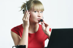 Call center employee at work Royalty Free Stock Photo