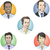 Call center employees with headsets. Vector illustration of call center employees with headsets. Easy-edit layered vector EPS10 file scalable to any size without Stock Photography