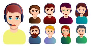 Call center employees icons set, cartoon style royalty free illustration