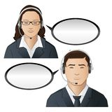 Call Center Executive. Illustration of male and female executive of call center Royalty Free Stock Photos