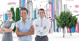 Call center executives standing arms crossed against hand drawn city Stock Photography