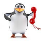 call center för pingvin 3d Arkivfoto