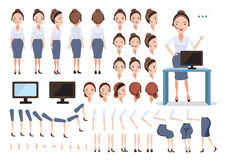 Call center. Female call center character creation set.Icons with different types of faces and hair style, emotions, front, rear, side view of female person Stock Photo