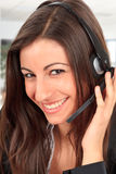 Call center female operator Stock Image