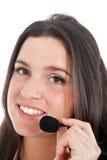 Call center female operator Stock Photo