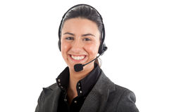 Call center female operator Stock Photo
