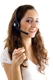 Call center female pointing at camera Royalty Free Stock Photo