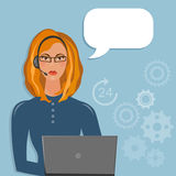 Call center female support operator speech bubble Royalty Free Stock Images