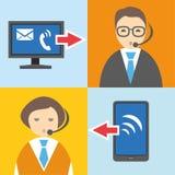 Call-Center, flache Farbillustration, Informationsgraphiken Lizenzfreies Stockfoto