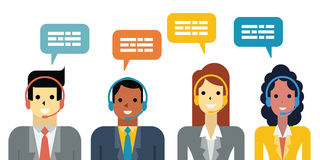 Call center. Flat design illustration of diverse business people, man and woman with headset in call center service concept stock illustration