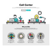 Call center flat line web graphics. One page web design template with thin line icons of call center support, customer service helpline operator, business Stock Image