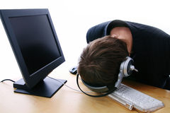 Call center frustration Royalty Free Stock Photo