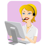 Call Center Girl. Illustration of smiling girl to the call center Stock Photography