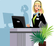 Call center girl. Vector illustration og a girl of a call center assistant Royalty Free Stock Image