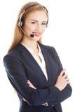 Call center girl. Isoalted on white Royalty Free Stock Images