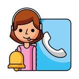 Call center girl address book and bell. Vector illustration vector illustration