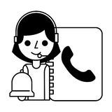 Call center girl address book and bell. Vector illustration royalty free illustration