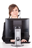 Call center girl with computerc Stock Images