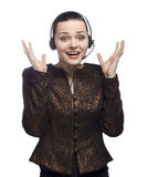 Call center girl expresses emotions on white Stock Photos