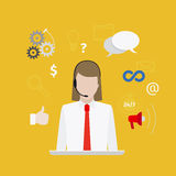 Call center with girl flat style yellow banner Stock Photography