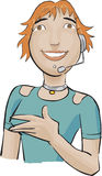 Call center girl with a green  Royalty Free Stock Photography
