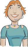 Call center girl with a green  Royalty Free Stock Images