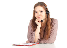 Call center girl with headset and clipboard Royalty Free Stock Photos