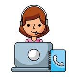 Call center girl lapopt address book. Vector illustration royalty free illustration