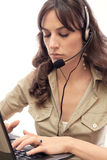 Call center girl with laptop Royalty Free Stock Photography