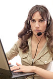 Call center girl with laptop Royalty Free Stock Photos