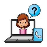 Call center girl laptop address book support. Vector illustration stock illustration