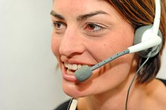 Call center girl is laughing Stock Photos