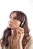 Call center girl looking up Stock Images