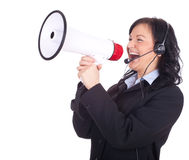 Call center girl with megaphone Stock Photography