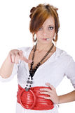 Call-Center Girl pointed the finger. Royalty Free Stock Photo