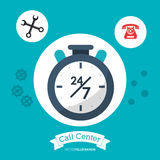 Call center 24h all time service. Illustration eps 10 Royalty Free Stock Image