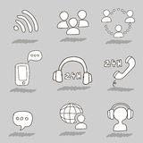 Call center hand drawn icons Royalty Free Stock Images