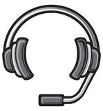 Call center headset. DJ headphones, headset symbol, headphone icon Stock Images