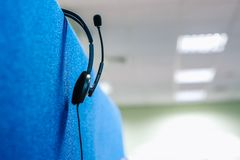 Call center headset headphones microphone talking workplace royalty free stock photography