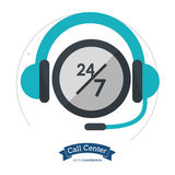Call center headset 24 hours 7 day always Royalty Free Stock Photos