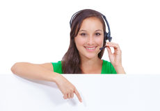 Call center headset woman sign Stock Photos