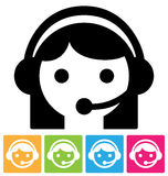 Call center icon. Call center assistant in headset, isolated on white icon Royalty Free Stock Photo