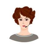 Call center Icon. Female social profile. Stock Photos