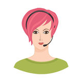 Call center Icon. Female social profile. Royalty Free Stock Photography
