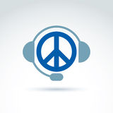 Call center icon with headphones, consultation symbol. Antiwar v Royalty Free Stock Photos