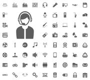 Call center icon. Media, Music and Communication vector illustration icon set. Set of universal icons. Set of 64 icons.  stock illustration